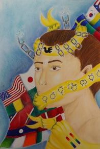 "FIRST PLACE (Grades 5-8) RILEE RISENDEZ, 8th Grade ""Speak For Peace"""