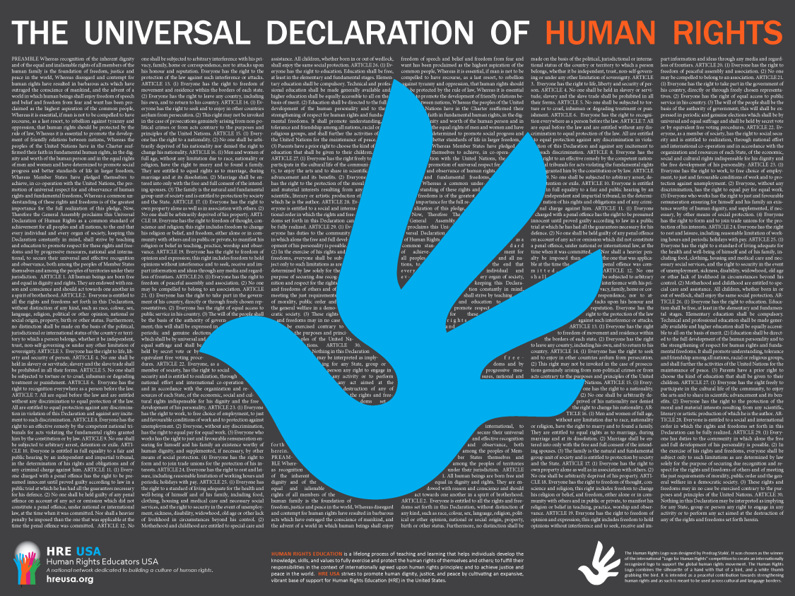 HRE USA UDHR Poster Blue Dove 2018 small